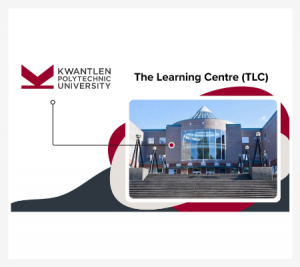 Image of an iconic building at Kwantlen Polytechnic University with abstract illustrations