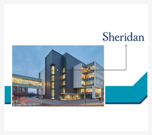 Image of an iconic building at Sheridan College with abstract illustrations
