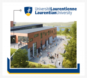 Image of an iconic building at Laurentian University with abstract illustrations