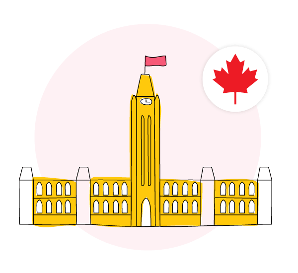 Abstract illustration of Parliament Hill in Ottawa, Canada